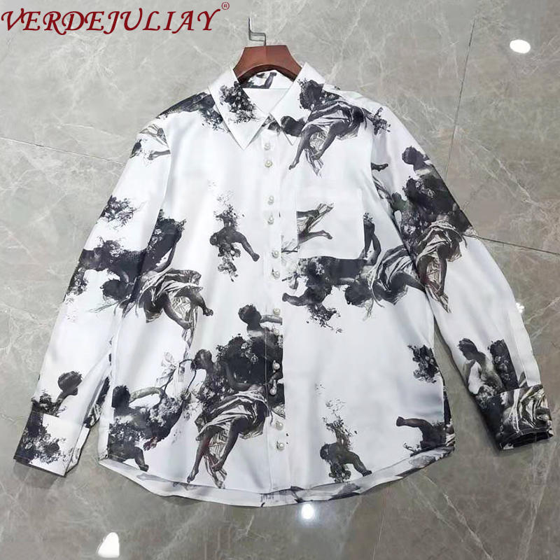 VERDEJULIAY High Quality 100% Silk Pearl Buttons Casual Blouse 2020 Spring New Runway Ink Painting Print Vintage Women Tops