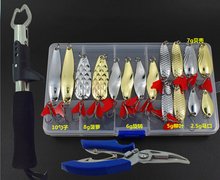 Fishing Lures Set Spoon Kit Metal Bait Plier Grip Hard Fresh Salt Water Bass Pike Sea In Storage Box J077