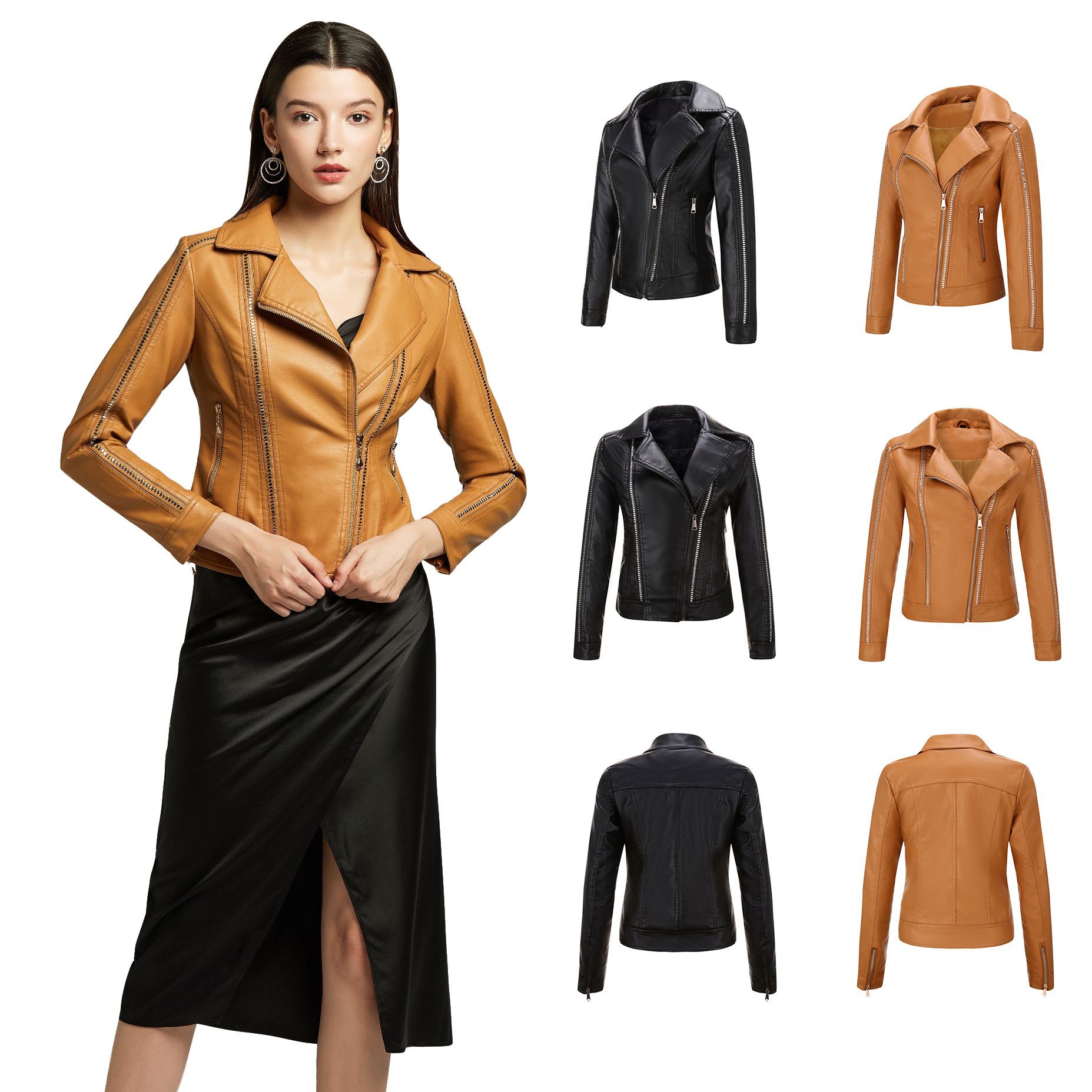 New gothic faux   leather   pu jacket women winter autumn metal zippers motorcycle slim pu   leather   jacket casual female coat S- XXL