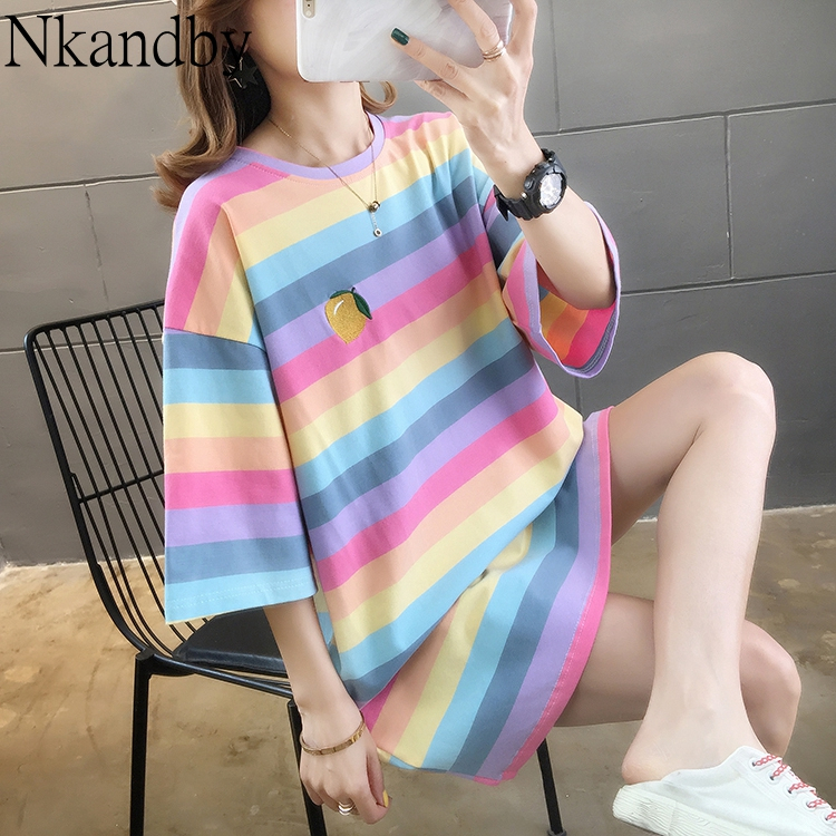 Nkandby Large Size Rainbow Stripe Tshirt Women 2020 Spring Casual Loose Embroidery Short Sleeve Top Oversize Cotton Long T-shirt