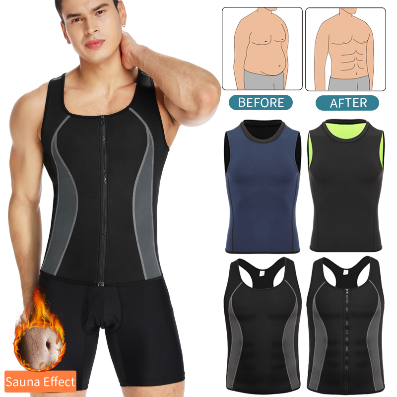 Men Workout Waist Trainer Abs Abdomen Shapewear Tummy Slimming Sheath Sauna Body Shaper Trimmer Belt Slimming Tops Sweat Corset