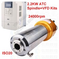 ATC Spindle 2.2KW 3HP ISO20 AC 220V 800HZ Automatic Tool Change NPN PNP Spindle Motor with  Inverter VFD Kits CNC Router Han Qi|Machine Tool Spindle|Tools -