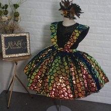 Imagem real nova chegada vestidos da menina de flor para o casamento sequined little girls pageant vestido em camadas vestidos de desfile