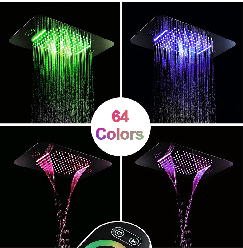 H0b740257336e4173aa42a9ecea3cae2ao M Boenn Luxury Rose Gold LED Shower System Music ShowerHead Bathroom Faucets Rain Shower Set Thermostatic Brass Concealed Mixer