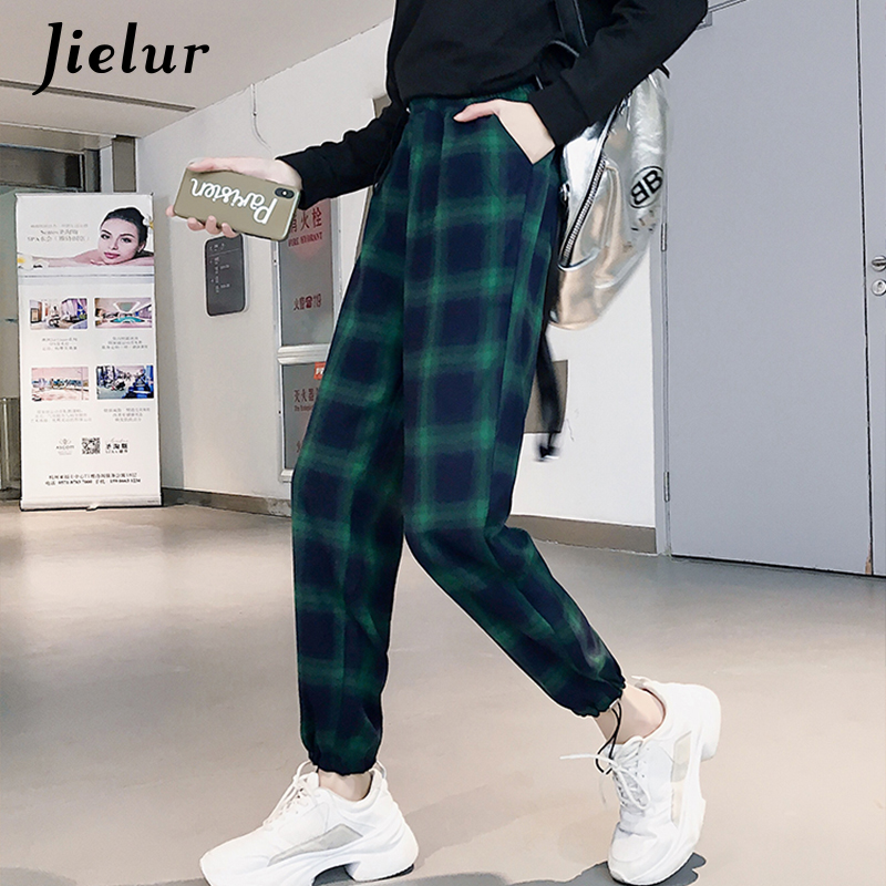 Jielur Plaid Pants Female Korean Style Harajuku Boyfriends Wide Leg Pants Loose Vintage Green Plaid Joggers Women Elastic Waist