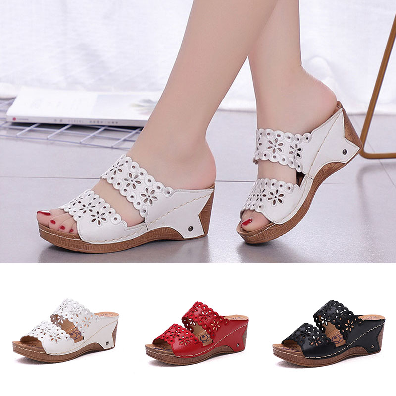Women Shoes Hollow Leather Wedges With Solid Slippers Sponge Hollowed Increases