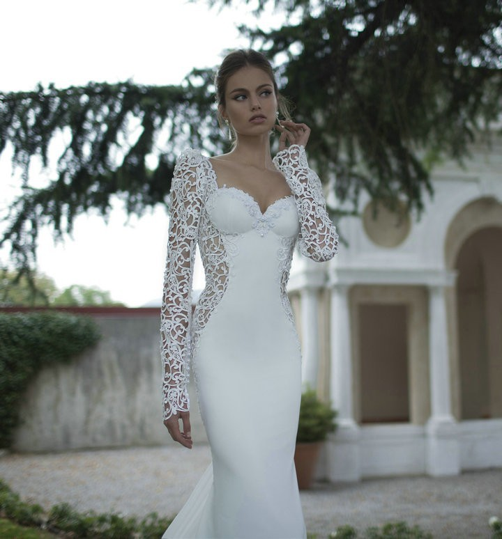 Novelty Sexy Party Long Sleeve Mermaid Bridal Gown 2018 Lace Backless Vestido De Noiva For Women Mother Of The Bride Dresses