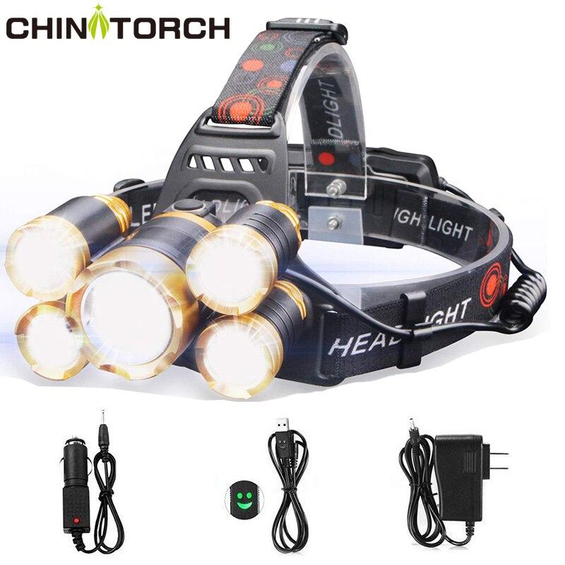 Rechargeable Headlamp Flashlight 2000 Lumen Ultra Bright T6 5 LED Head Lamp 4 Modes Waterproof Outdoor Headlight Powerful Torch