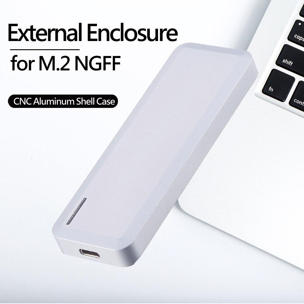 Boîtier disque dur SSD externe Uneatop aluminium USB3.1 type-c à M.2 NGFF B + M pour PC, ordinateur portable et Mac