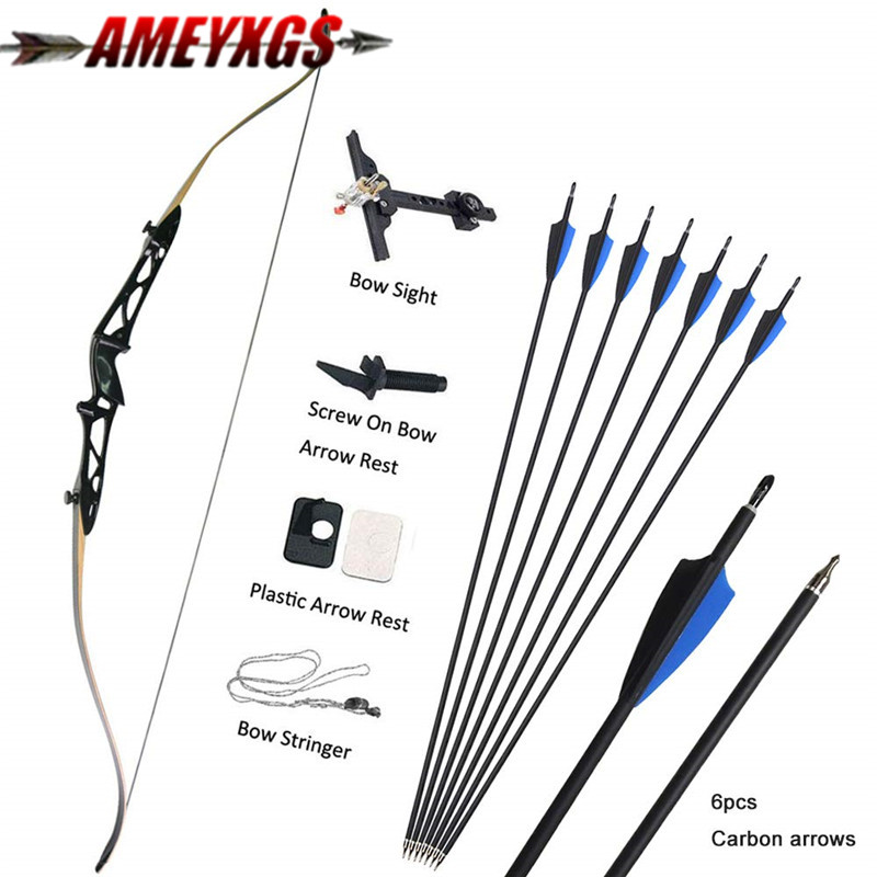 70 Archery Recurve Bow Takedown 14lbs-40lbs Hunting Recurve Bows Carbon Arrows Set For Shooting Competition Game Accessories image