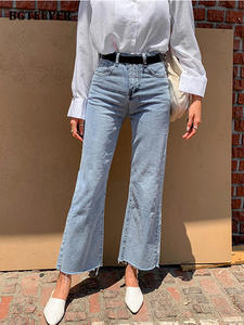 BGTEEVER Pants Button Female Jeans Wide-Leg Streetwear Loose Vintage Blue High-Waist