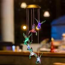 Luzes de Mudança de Cor LED Solar Movido A Energia Solar Wind Chime Hummingbird Villa Luz Quintal Jardim Decoração Iluminação Da Paisagem