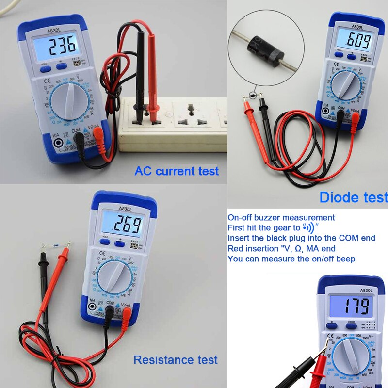 Image 4 - A830L Mini Multimeter LCD Digital Multimetro Volt Amp Ohm Tester Meter Voltmeter Ammeter Backlight Overload Protect With Probe-in Multimeters from Tools