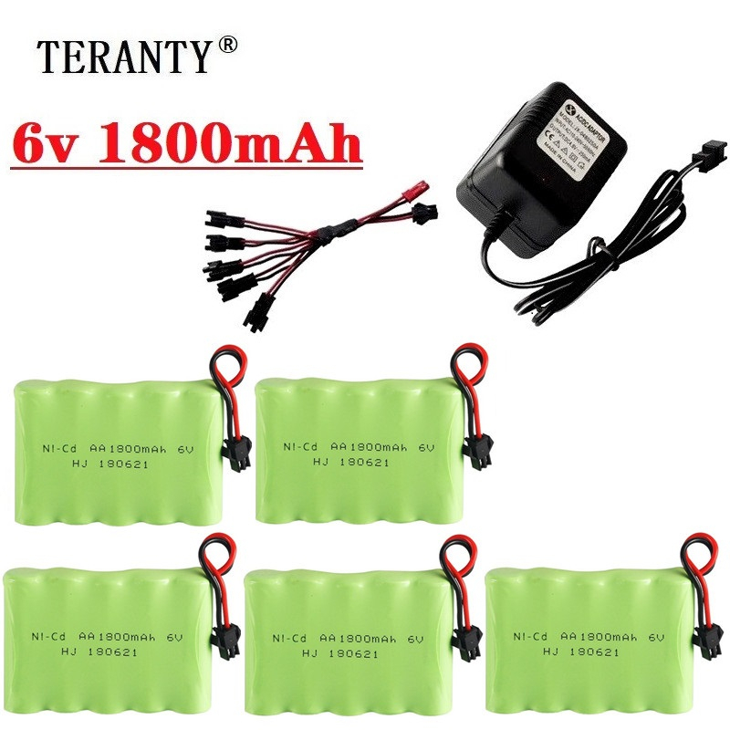 6v 1800mAh Battery and Charger For RC Cars Robots Tanks Truck Gun Boats 4.8v NiMH Battery Aa 700mah 6v Rechargeable Battery Pack image