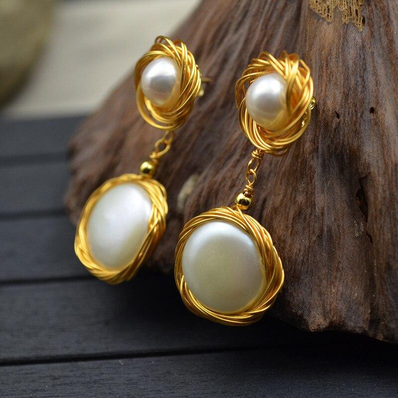 Perle naturelle oreille clou fleur bague femme 14k plaqué or fil tissé à la main couleur-rétention et Anti-allergie 925 argent aiguille