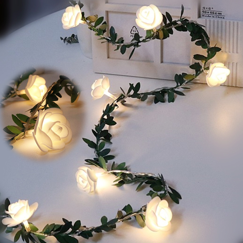 6M 40leds Rose Flower LED Christmas Garland Fairy String Lights Battery/USB Powered Outdoor For Wedding Garden Party  Decor