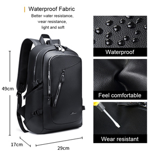 Image 3 - Fashion PU Leather Backpack Shcool Women Men Male 15.6 Laptop Backpacks Waterproof Notebook USB Charging Bagpack Bag Back Pack