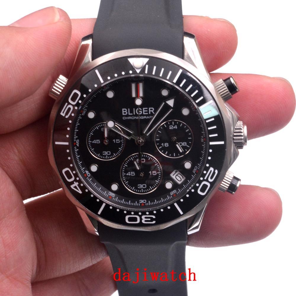 Bliger41mm luxury GMT black dial men's quartz watch, sapphire crystal rotatable ceramic bezel, black tape