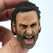 In Stock 1/6 Scale The Walking Dead Rick Grimes Open Muth Roar Head Sculpt Carved Model for 12'' Action Figure Body [new] the walking dead zombie head action figure model resin crystal car ornament home desk decoration furnishing articles gift