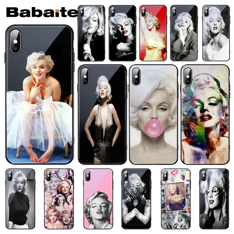 Babaite <font><b>Sexy</b></font> Girls Marilyn Audrey Hepburn Friend Monroe Tempered Glass Phone <font><b>Case</b></font> For <font><b>iPhone</b></font> XS MAX XR 8 X <font><b>7</b></font> 6S 6 Plus capa image