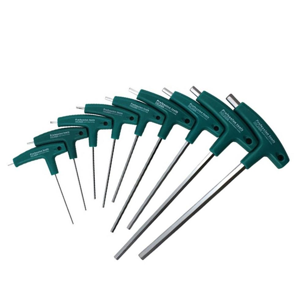 1x Steel T-Handle Hex Allen Key Screws Screwdriver Driver Tool 1.5-10mm Wrenches