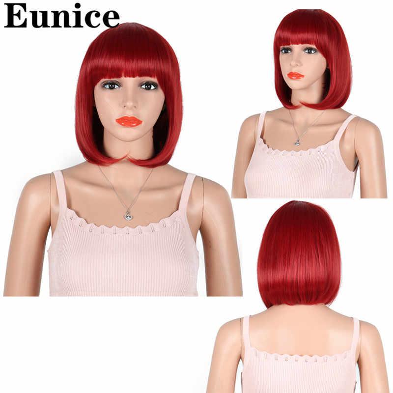 Synthetisch Haar 10inch Straight Korte Bob Pruiken Met Pony Blauw Gouden Rood Zwart Wit Paars Roze Groen Bruin Cosplay pruik Vrouwelijke