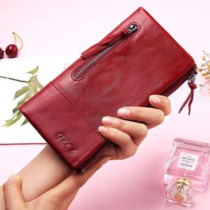 Image 5 - Famous Brand Genuine Leather Women Long Wallet Female Zipper Clamp Coin Purse Lady Walet Fashion Cell Phone Pocket Money Bag