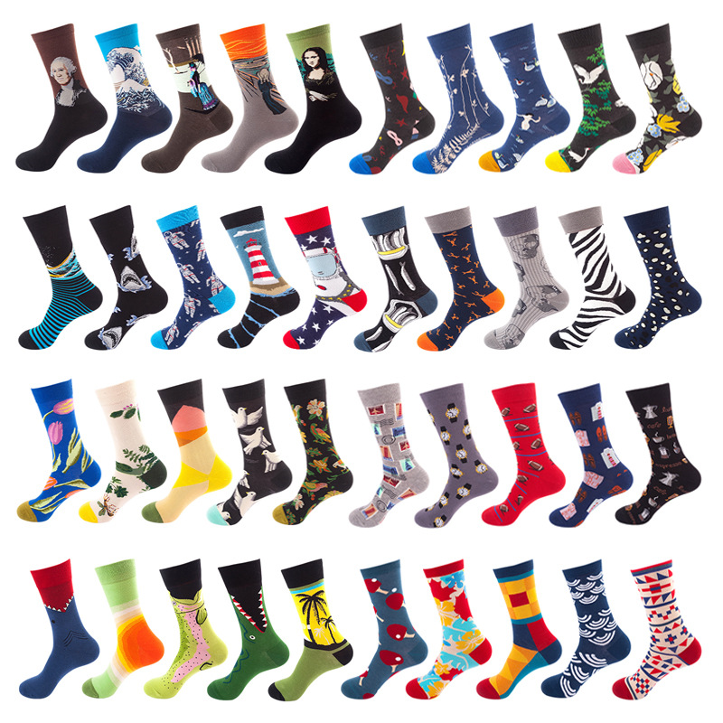 1 Pair Men Socks Cotton Funny Crew Socks Cartoon Animal Fruit Dog Women Socks Novelty Gift Socks For Spring Autumn Winter
