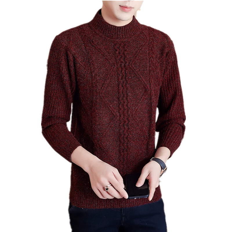 Winter O-neck Thick Warm Sweater Men Turtleneck Mens Cashmere Wool Sweaters Slim Fit Pullover Men Knitwear Male