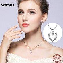 WOSTU 2019 luksusowa marka 925 srebro serce miłość wisiorek naszyjniki dla kobiet z biżuteria z cyrkoniami aaa prezent dla kochanka CQN025