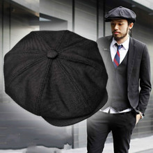 Berets Man Cotton and Linen Anise Cap Retro British Black Be