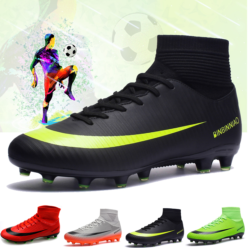 Sneakers Boots Soccer-Shoes Turf Tf-Spikes Futsal High-Top Indoor Soft Men Ankle title=