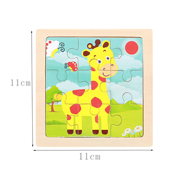 Mini Size 11*11CM Kids Toy Wood Puzzle Wooden 3D Puzzle Jigsaw for Children Baby Cartoon Animal/Traffic Puzzles Educational Toy 1