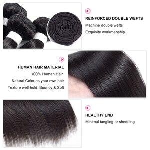 Image 2 - Mechones de pelo liso brasileño con Frontal Natural de Color Remy, 3 mechones de pelo humano con cierre Frontal de malla 360, de Gabrielle