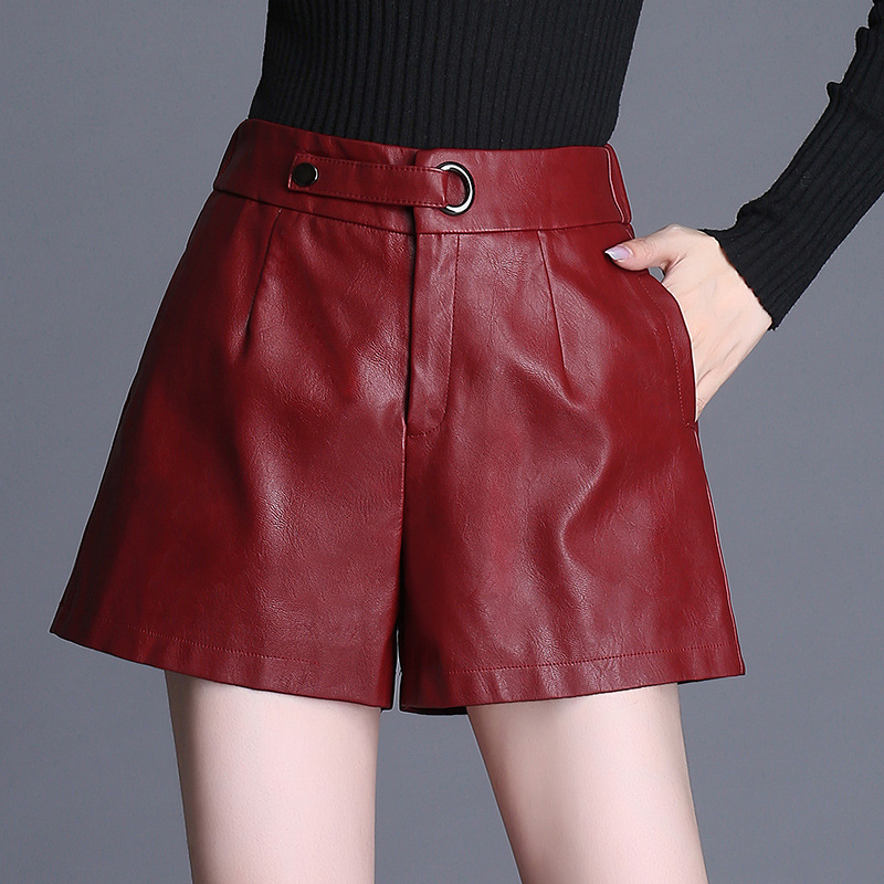 Women High Waist Loose Casual Red Black PU Leather Wide Leg Shorts Office Lady Elegant Streetwear Hip Hop Faux Leather Shorts