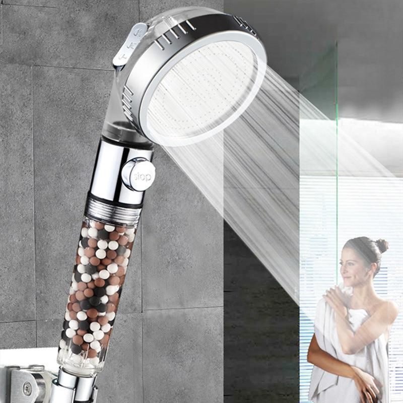 VEHHE 3 Modes Adjustable SPA Shower Head New Tourmaline Filter Balls Water Saving Switch Button High Pressure Spray Shower