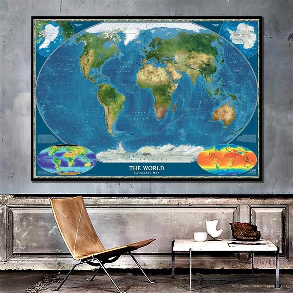 Satellite Map Of The World Foldable Non-woven World Map With Biosphere And Surface Temperature 150x225cm