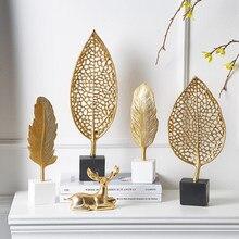 Europen Leaf Model sculpture resin craft vintage home decor Modern Vintage Abstract Statue Office Desk Decoration Ornaments Gift