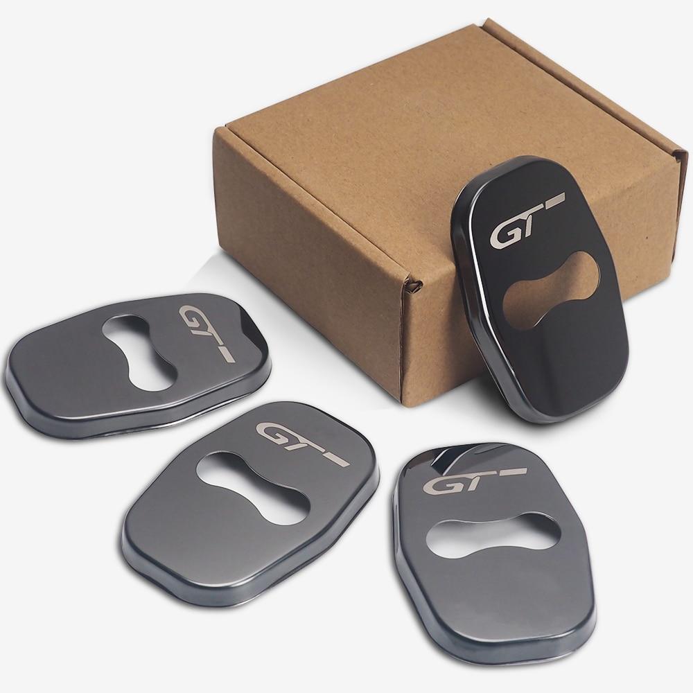 4pcs/lot Car Buckle Door Lock Cover For Peugeot 206 5008 4008 3008 207 308 408 307 508 GT Metal Car Door Holder Protector Cover