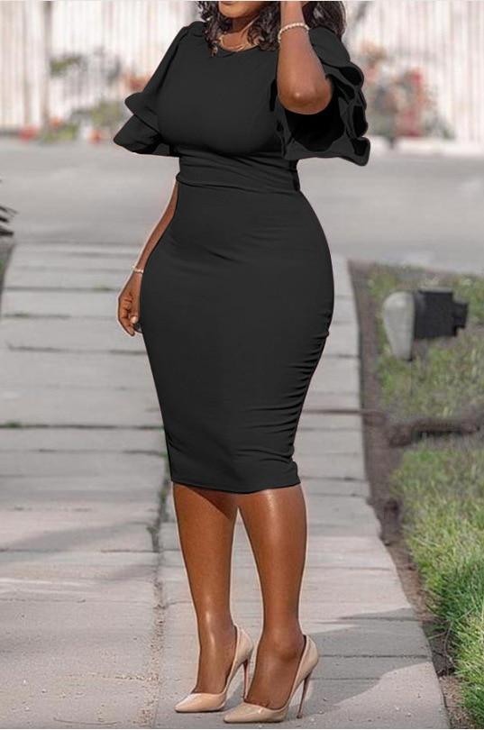 Large size XL-5XL Sudress 2019 Women's Dress O-Neck lanterm Sleeve Slim Night Solid Party short dress (7)