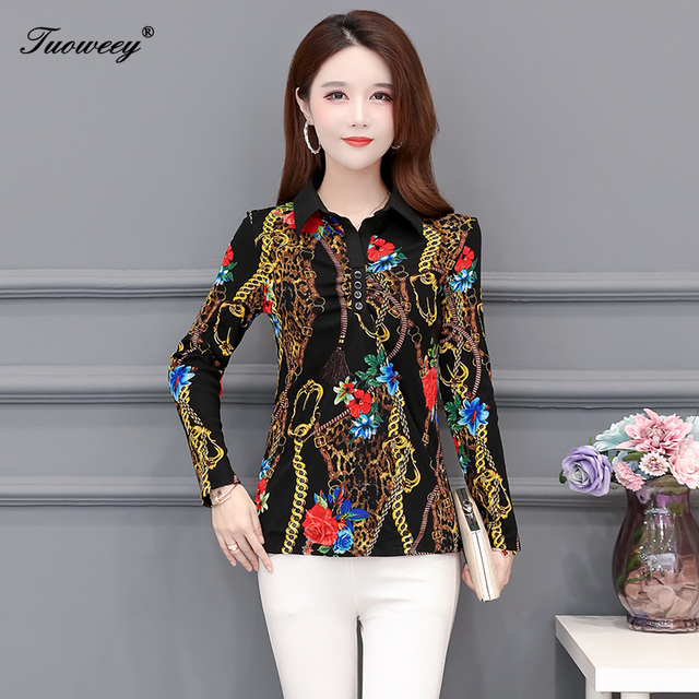 2020 Autumn spring Floral lace slim Blouse Women elegant Long Sleeve Blouses Casual Shirt ladies Plus Size 5XL printed Tops 4