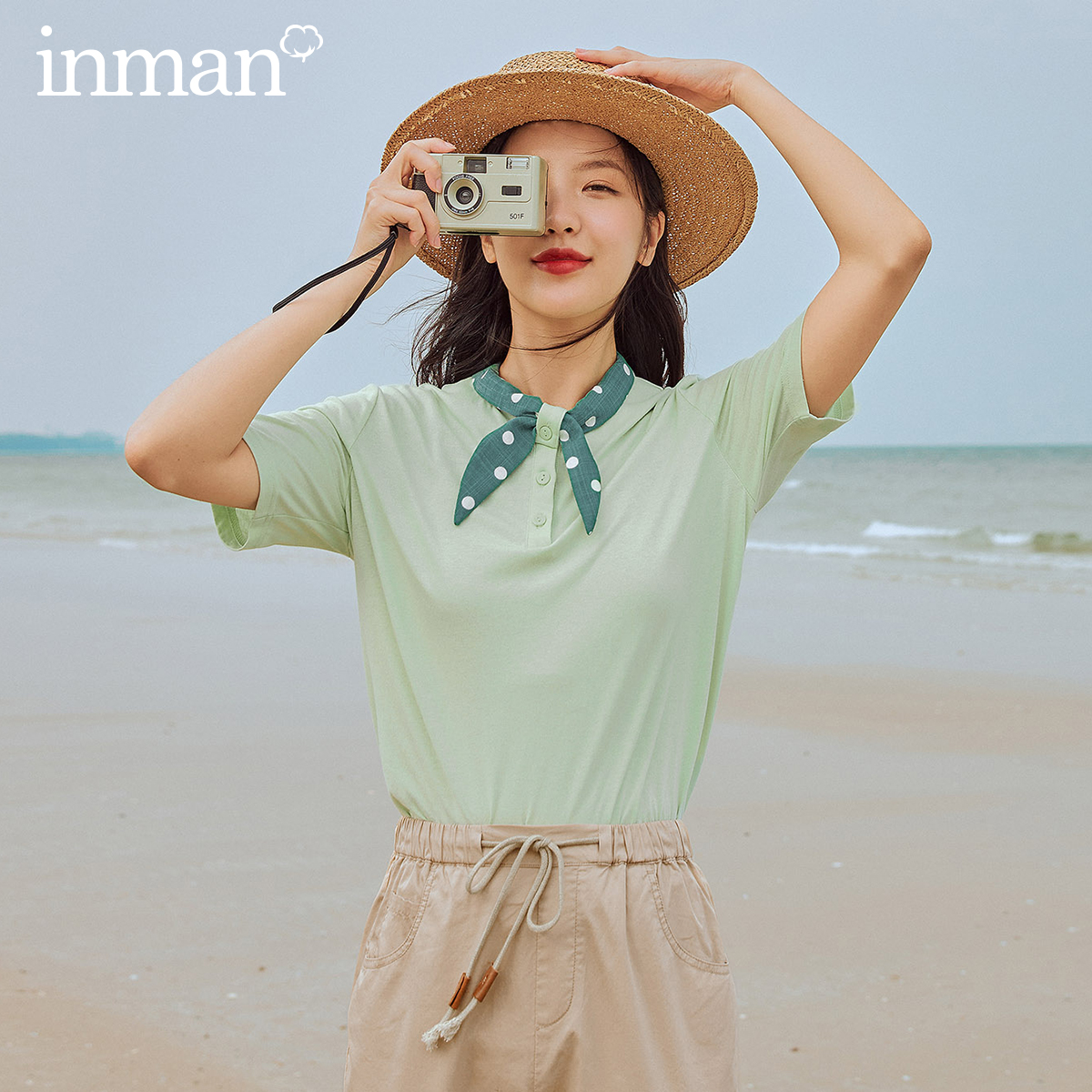 INMAN  Vintage T-Shirt 2020 New Arrival Loose Style Polka Dot  Collar Artsy Women Tops