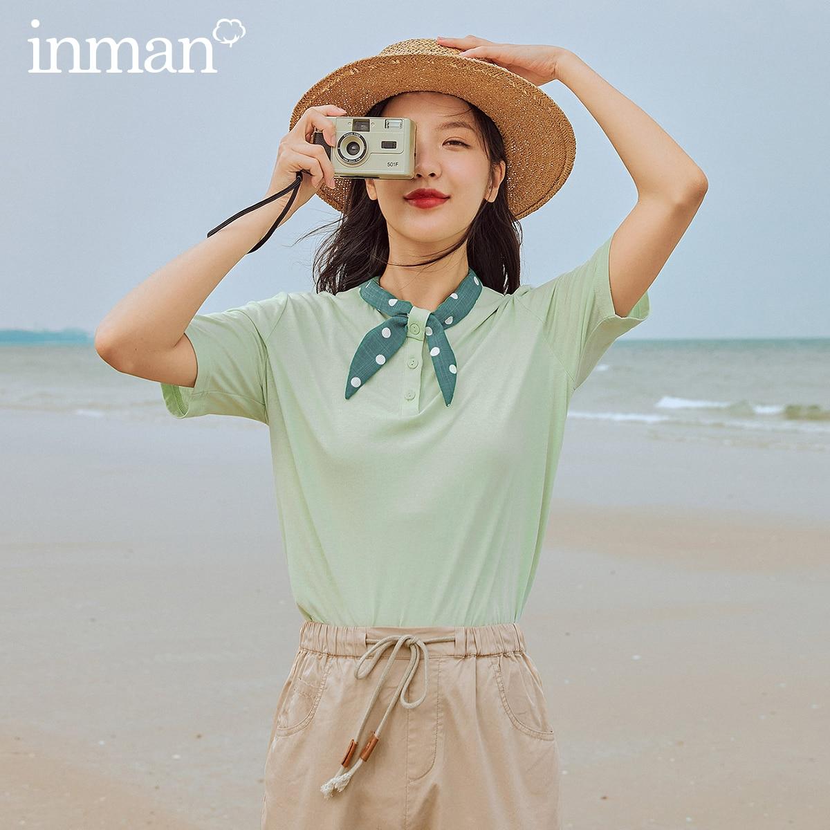 INMAN  Vintage T-Shirt 2020 New Arrival Loose Style Polka Dot  Collar Artsy Women Tops