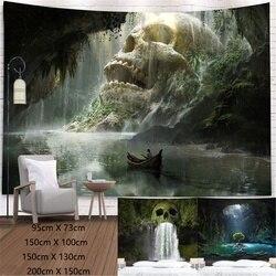 Натуральная голова черепа Водопад 3D печать гобелен украшение для дома фоновая ткань Tapiz 95x7 3 см/150x100 см