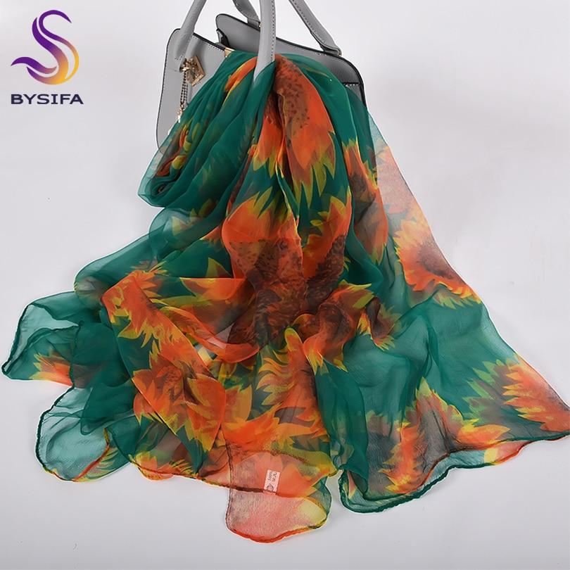 [BYSIFA] Orange Green Silk Scarf Winter Fashion Accessories Fall Brand Sunflower Women Long Scarves Ladies Thin Silk Scarf