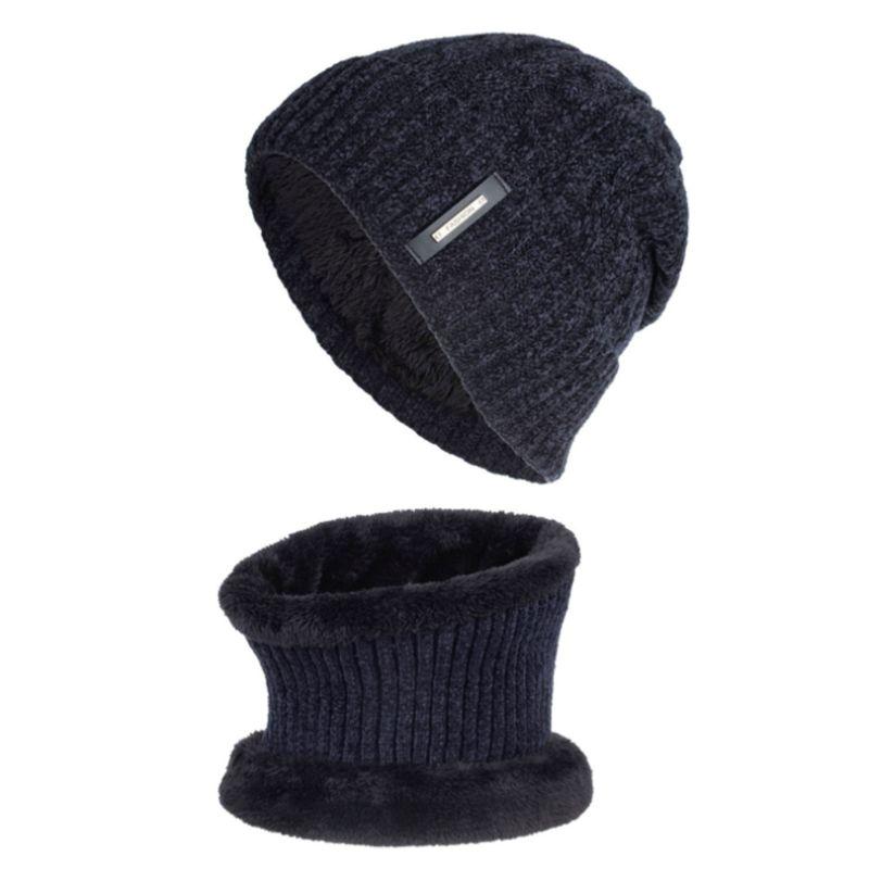 2Pcs Unisex Winter Chenille Plush Lined Beanie Hat Infinity Circle Scarf Set