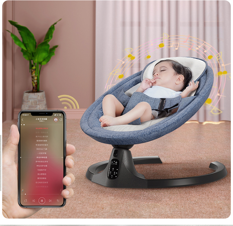 H0b767c503378417da1d5eea67a19dcdfR Baby Electric Rocking Chair Bluetooth Remote Artifact Newborn Baby Sleeping Basket with music Kids Swing cardle 0-36month