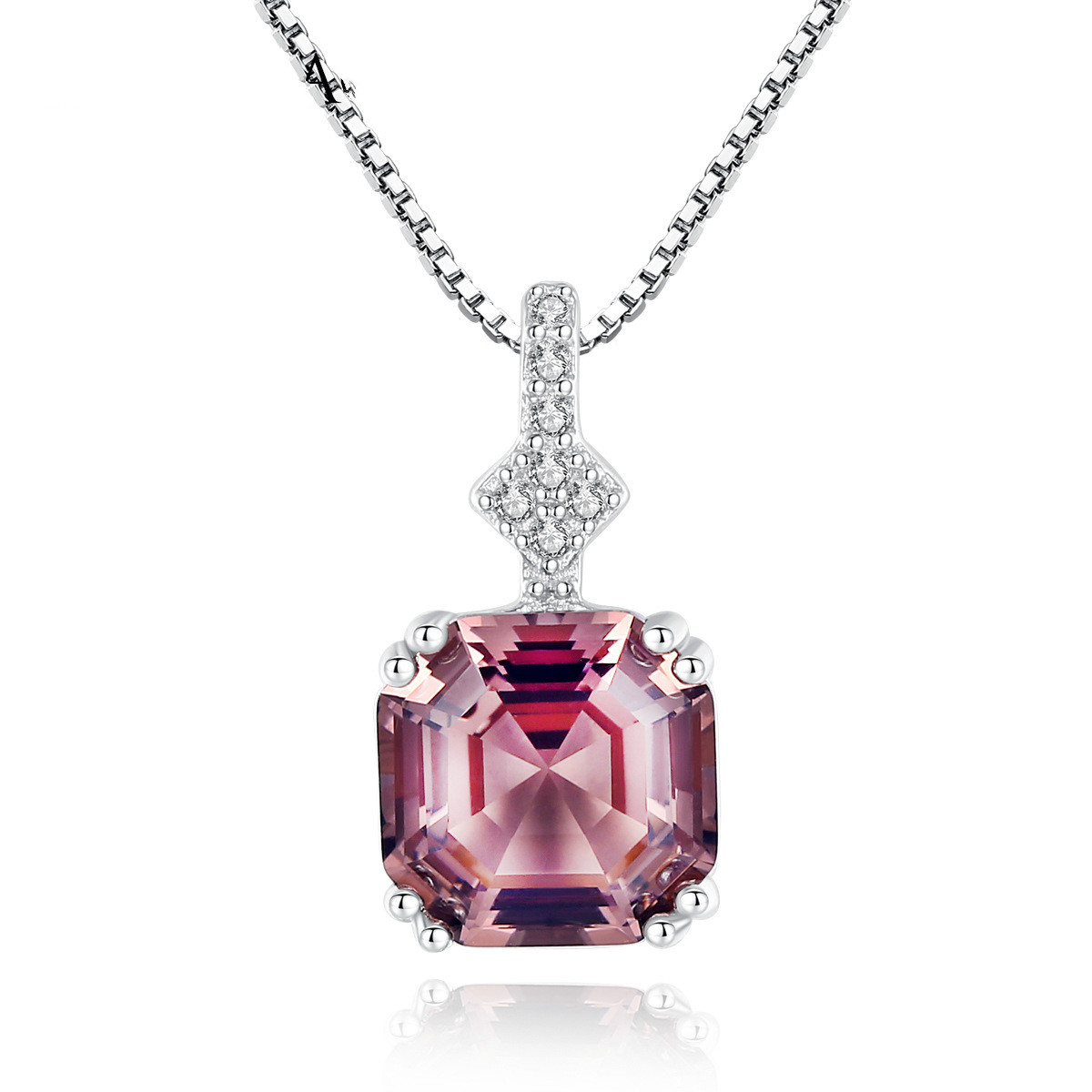 HAIMIS Благородный белый/фиолетовый CZ S925 серебро кулон ожерелье для женщин подарок на день рождения