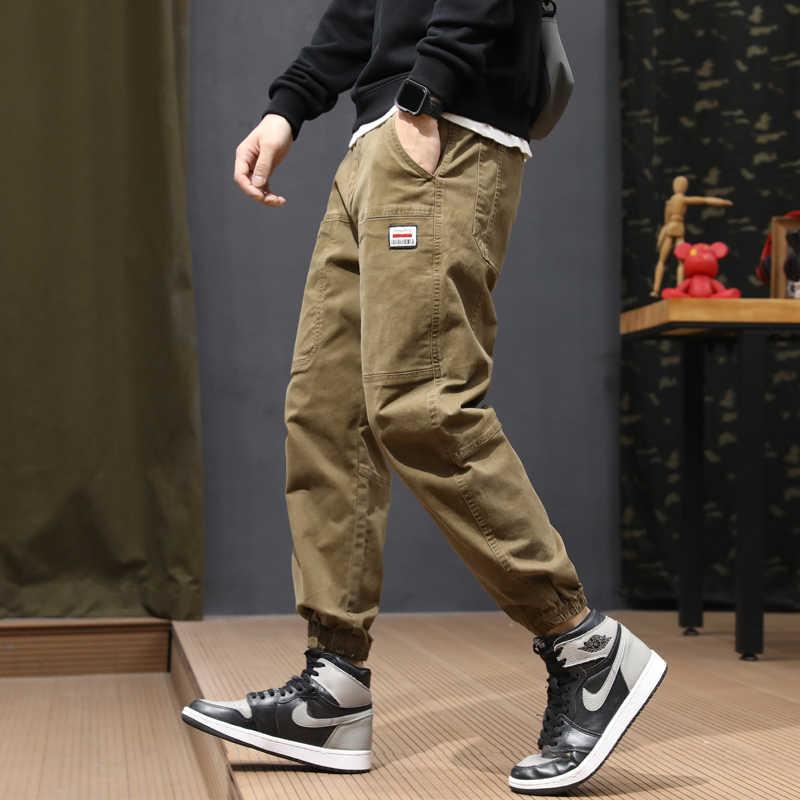 Mode Streetwear Männer Jeans Lose Fit Verstärktes Beiläufige Cargo Hosen Khaki Grün Gelb Hip Hop Harem Jeans Männer Jogger Hosen homme