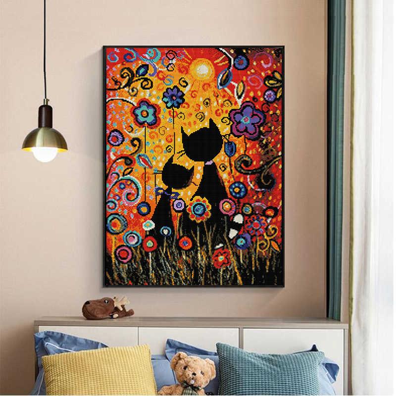 Kleurrijke Gouache Kat Telpatroon 14ct 11ct Canvas Printing Borduren Set Diy Handwerken Home Decoratie Schilderen